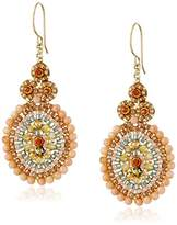 Miguel Ases Pink Coral-Outlined Drop Earrings