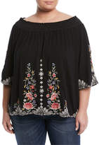 Johnny Was Harleth Off-The-Shoulder Embroidered Tee, Plus Size