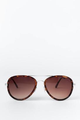 francesca's Helen Aviator Sunglasses - Tortoise