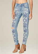 Bebe Embroidered Skinny Jeans