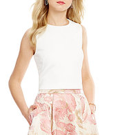 Eliza J Jewel Neck Sleeveless Scuba Crop Top