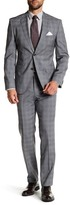 HUGO BOSS Johnston2/Lenon Medium Gray Two Button Notch Lapel Virgin Wool Trim Fit Suit