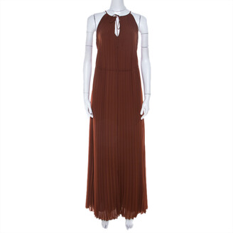 Elizabeth and James Cinnamon Brown Pleated Chiffon Cadence Maxi Dress S