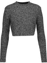 Carven Cropped Marled Wool Sweater