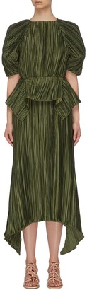 Cult Gaia Puffy sleeve cut out back pleated midi dress