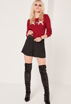 Missguided Red Ribbed Eyelet Lace Up Cropped Sweater