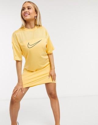 Nike mesh t-shirt dress in yellow