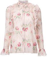 Vilshenko floral ruffle blouse