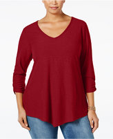 Style&Co. Style & Co. Plus Size Ruched-Sleeve Handkerchief-Hem Top, Only at Macy's