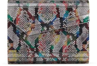 Jimmy Choo CANDY Multicolour Python Print Fine Glitter Acrylic Clutch Bag with Chain Strap