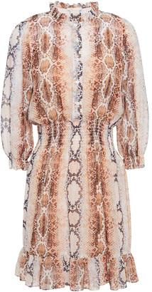 Maje Ruffle-trimmed Shirred Snake-print Georgette Mini Dress