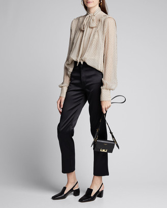 Jason Wu Collection Flock-Dotted Crinkled-Chiffon Blouse
