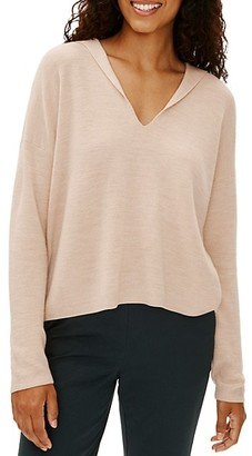 Eileen Fisher Boxy Hooded Long-Sleeve Top