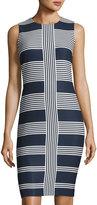 Taylor Crepe Striped Sheath Dress, Blue/White