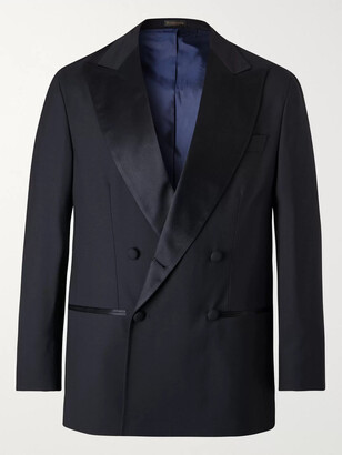 Rubinacci Double-Breasted Satin-Trimmed Virgin Wool Tuxedo Jacket