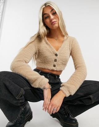 Bershka fluffy cropped cardigan in camel