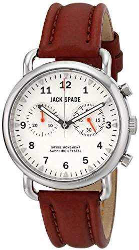 """Jack Spade Men's WURU0114 """"Norton"""" Stainless Steel Watch with Brown Leather Band"""