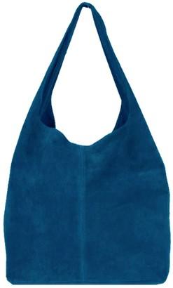 Sostter Petrol Blue Soft Suede Hobo Shoulder Bag