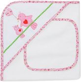 Elegant Baby Lovebirds Hooded Towel and Washcloth Set in White/Pink