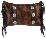 Wooded River Oval Concho Leather Hair on Hide Pillow with Fabric Back