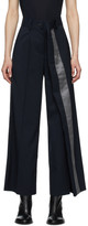 Sacai Navy Wool Asymmetrical Suiting Trousers