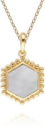 Mother Of Pearl Flat Slice Hex Pendant In Gold Sterling Silver