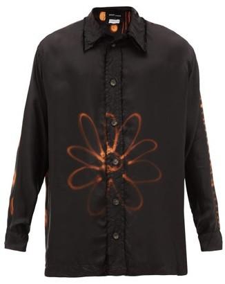 Edward Cuming - X Pattern Chineso Bleached Washed-cupro Shirt - Black