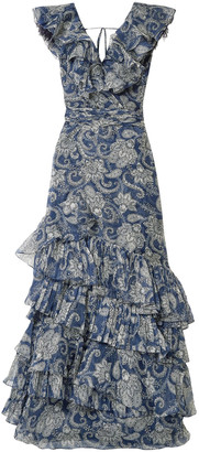 Johanna Ortiz The Sea Nymph Ruffled Printed Silk-organza Maxi Dress