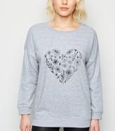 New Look Petite Flower Sketch Heart Sweatshirt