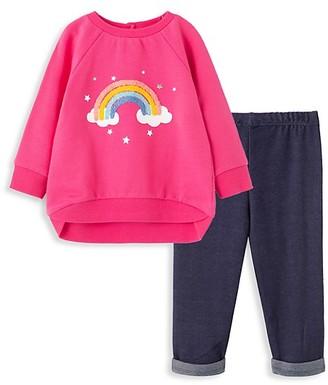 Little Me Little Girl's Rainbow 2-Piece Stretch-Cotton Sweatshirt & Leggings Set