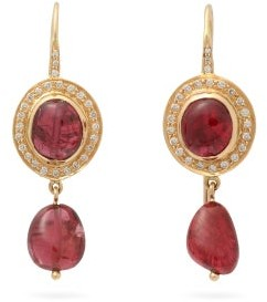 Jade Jagger Diamond, Spinel & 18kt Gold Drop Earrings - Red