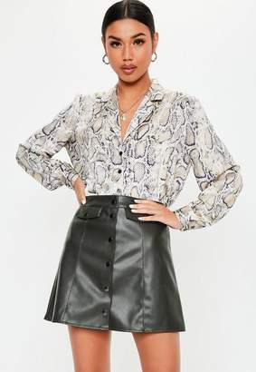 Missguided Khaki Matte Faux Leather Button Mini Skirt