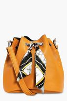 boohoo India Scarf Detail Duffle Bag mustard