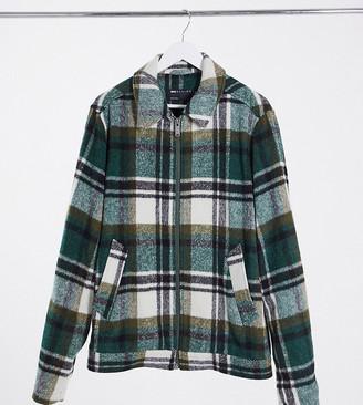 ASOS DESIGN Plus wool mix Harrington jacket in green and ecru check