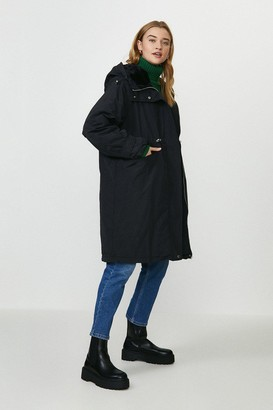 Coast Faux Fur Hooded Trench Coat