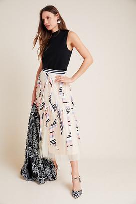 Mae Pleated Tulle Midi Skirt By Geisha Designs in Pink Size XS