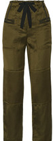 Elizabeth and James Bode Quilted Satin-twill Straight-leg Pants - Army green