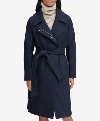 Andrew Marc Women's Car Coats [NVY]NAVY - Navy Tie-Sash Woodrow Wool-Blend Trench Coat - Women