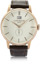 Locman 1960 Rose Gold Stainless Steel Men's Watch w/Dark Brown Croco Embossed Leather Strap