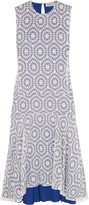 Preen by Thornton Bregazzi Imogen asymmetric flocked checked georgette midi dress