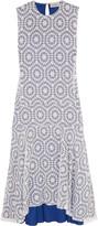 Preen by Thornton Bregazzi Imogen asymmetric flocked cotton-georgette midi dress