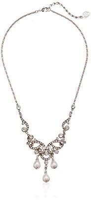 Ben-Amun Jewelry Pearl and Crystal Victorian Deco Necklace for Bridal Wedding Anniversary Pendant Necklace