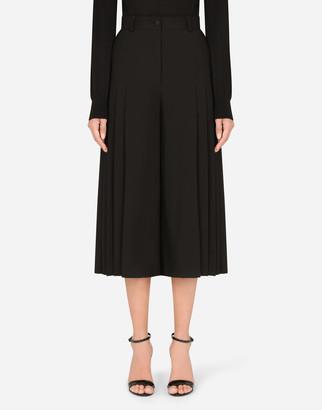 Dolce & Gabbana Woolen Skorts With Pleated Sides