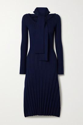 Rokh Paneled Ribbed Merino Wool Midi Dress - Midnight blue