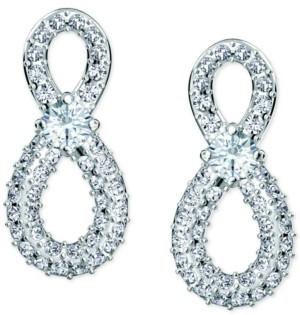 Swarovski Silver-Tone Crystal Infinity Stud Earrings