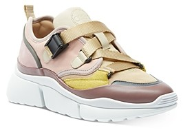 Chloé Women's Sonnie Mixed-Media Low-Top Sneakers