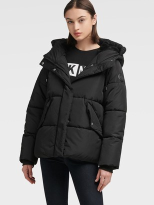 DKNY Short Hooded Puffer