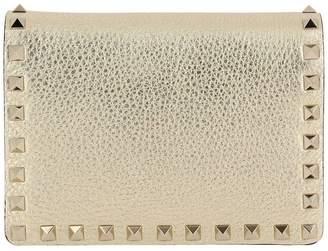 Valentino GARAVANI Rockstud Spike Mini Crossbody Bag In Laminated Leather With Thin Chain Strap