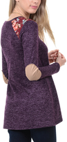 Magic Fit Plum Heather Elbow Patch Tunic
