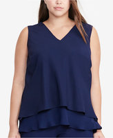 Lauren Ralph Lauren Plus Size Layered Crepe Blouse
